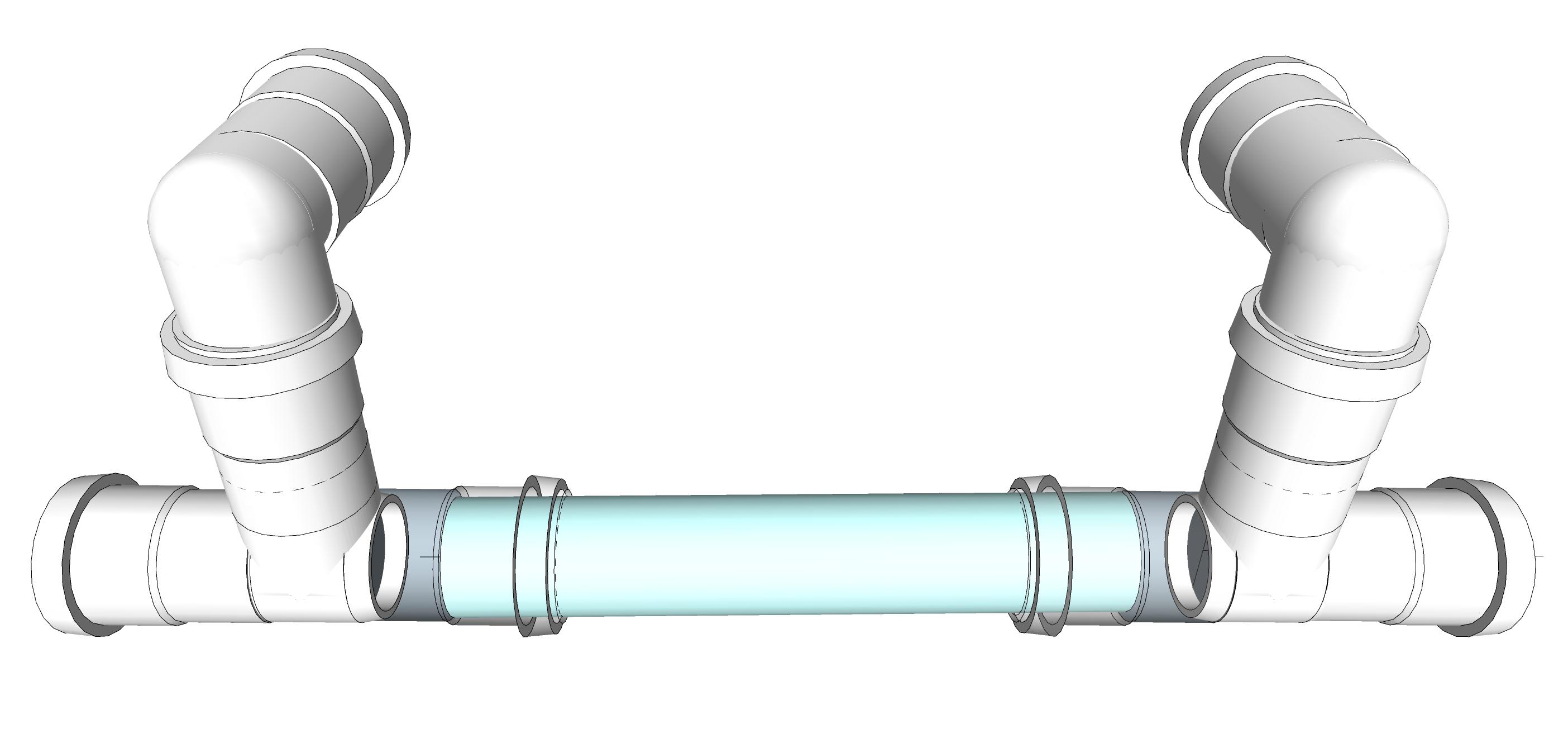 TAGLIARE TUBI IN PVC A MISURA SECONDO LA DISTANZA DELLE CANALINE. IMPORTANTE: CALCOLARE NELLA MISURA DEL TAGLIO LO SPAZION DI INSERIMENTO NEL BICCHIERE DEL RACCORDO 4,5 CM